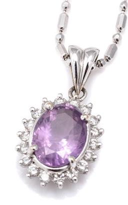 Sale 9115 - Lot 394 - A PINK SAPPHIRE AND DIAMOND CLUSTER PENDANT NECKLACE; 10ct white gold pendant centring an oval cut pink sapphire of approx. 3.00ct s...