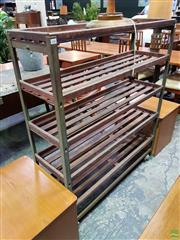 Sale 8607 - Lot 1086 - Vintage Industrial Shoe Rack - ex John Karandonis Warehouse, Sydney (H: 133 W: 115 D: 36cm)