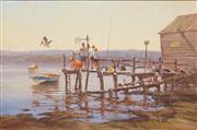 Sale 8652A - Lot 5044 - Robert Hagan (1947 - ) - No Fishing Allowed 60 x 91cm