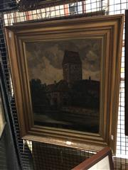 Sale 8861 - Lot 2014 - Artist Unknown (XX) - European Town Scene, 1922 49.5 x 39.5cm