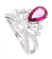Sale 8937 - Lot 395 - AN 18CT WHITE GOLD RUBLEITE AND DIAMOND TIARA RING; featuring a 1.47ct pear cut pink tourmaline surmounting 56 round brilliant cut d...