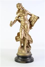 Sale 8905S - Lot 632 - A gilded, probably spelter, figure of La Gloire (after L & F Moreau), crack to base. Height 55cm