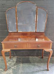 Sale 8962 - Lot 1078 - Timber Mirrored Back Dressing Table with Two Drawers on Cabriole Legs (H: x W:104 x D:59cm)