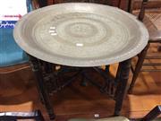 Sale 9006 - Lot 1078 - Brass Top Folding Table (h:52.5 x d:55cm)
