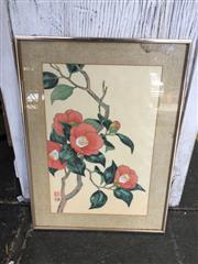 Sale 9045 - Lot 2008 - Chinese School Still Life of Red Camelias ink and watercolour on silk frame: 50 x 37 cm