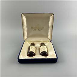 Sale 9165 - Lot 614 - 2x The Macallan Distillers Highland Single Malt Scotch Whisky Miniature Bottles - 1975 & 12YO, both 50ml, in gift box