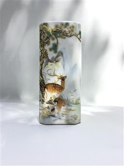 Sale 9175G - Lot 80 - .Ceramic Vase / Brush pot .Size 18cm H x 8cm D.General Wear