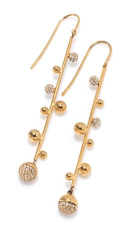 Sale 9213 - Lot 332 - A PAIR OF SARINA SURIANO 18CT GOLD PLATED CRYSTAL GALAXY EARRINGS; bar drops each attached with 8 spheres set with swarovski crystal...