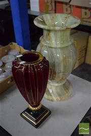Sale 8518 - Lot 2326 - Large Onyx Vase ( H 46cm x D 23cm) & a Red Vase