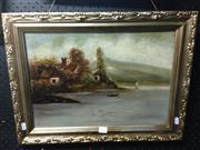 Sale 8659 - Lot 2055 - Artist Unknown - Dutch Country Lake Houses, oil on board, 32 x 45cm, unsigned