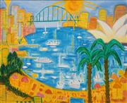 Sale 8686 - Lot 2012 - Ula Richardson - Summer, Sydney Harbour, oil on canvas, 75 x 90cm, signed lower right -