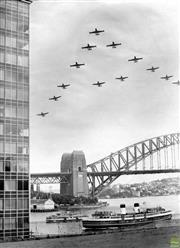 Sale 8721A - Lot 43 - Artist Unknown - Planes above Sydney Harbour Bridge, NSW 1959 30 x 22cm