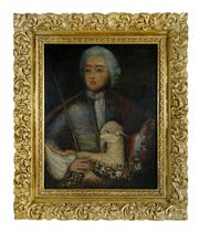 Sale 8716A - Lot 55 - Artist Unknown  Portait of a young man with a lamb, C17th-C18th  oil on canvas on board, in a C19th heavy gilt frame  71 x 56c...