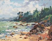 Sale 8773 - Lot 507 - Gaston De Vel (1924 - 2010) - A New Zealand Bay Scene, 1971 39 x 49.5cm