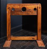 Sale 8761A - Lot 18 - A timber stock, H x 1m, W x 92cm, neck diam 12cm