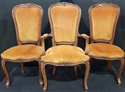 Sale 8971 - Lot 1010 - A Set of Six Mustard Velvet Upholstered French Dining Chairs, with carved spoon back and cabriole legs incl. Two Carvers - Chateau D...