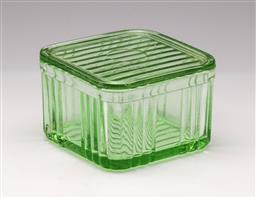 Sale 9114 - Lot 9 - A Depression Glass butter container (H:9cm L:14cm)