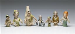 Sale 9156 - Lot 65 - A collection porcelain half dolls (Largest 13cm)