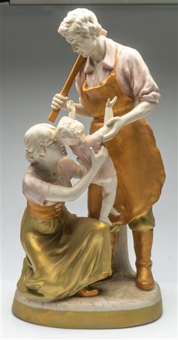 Sale 9211 - Lot 44 - A Royal Dux Figural Group of Parents and Child (H:65cm)
