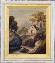 Sale 8349A - Lot 120 - W. Bates (XX) - House by the Rocky Stream, 1918 26 x 21.5cm
