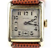 Sale 8402W - Lot 49 - ZENITH 14CT GOLD VINTAGE WRISTWATCH; square dial with Arabic numerals, subsidiary seconds on a manual 17 jewell movement no. 2663890...