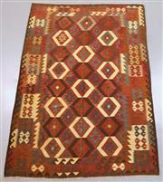 Sale 8438K - Lot 12 - Maimana Afghan Kilim Rug | 294x209cm, Pure Wool, Handwoven in Northern Afghanistan using durable local wool. Traditional slit weave ...