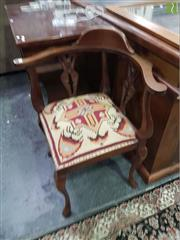 Sale 8601 - Lot 1450 - Carved Timber Corner Chair with Tapestry Seat on Cabriole Legs