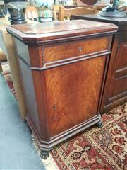 Sale 8666 - Lot 1052 - 19th Century Continental Flame Mahogany Cabinet, possibly Dutch,  with single drawer & door, raised on paw feet (Key in Office)