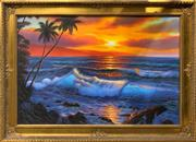 Sale 8752 - Lot 2035 - Artist Unknown - Island Sunset acrylic on board, 75 x 106cm (frame)