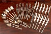 Sale 8882H - Lot 17 - A Rodd Tremesia pattern silver plate part canteen, including six entree and six main knives, six soup...