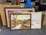 Sale 8995 - Lot 2063 - 3 Works: Artist Unknown Buffalo 1972 oil on hessian, 66 x 96cm together with two original landscape paintings