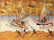 Sale 9013 - Lot 538 - Donald Friend (1915 - 1989) - Kites & Outriggers, Bali 46.5 x 62 cm (frame: 68 x 2 x 5 cm)