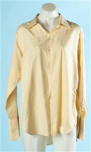 Sale 9080F - Lot 62 - A CREAM PURE SILK SHIRT BY FONZEL; vintage, mens size 16.