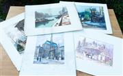 Sale 9066H - Lot 79 - 5 Parisian hand coloured engravings together with a James Thompson watercolour of the White Horse Inn.