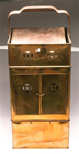 Sale 9104 - Lot 8 - A brass noodle carrier. H:77cm