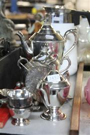 Sale 8381B - Lot 80 - Three Piece Silver Plate Tea Set With Other Metal Wares Incl Sugar Caster -