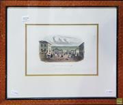 Sale 8595 - Lot 2024 - Samuel Thomas Gill (1818 - 1880),- Kyneton, Looking Towards the Bridge, hand-coloured lithograph, 17.5 x 25cm, (frame: 39 x 45.5cm)..