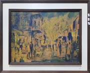 Sale 8705 - Lot 1063 - Jack Layoux - Paris Street Scene, Hand Coloured Print  44.5 x 60cm