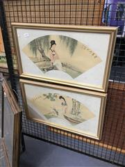 Sale 8711 - Lot 2057 - Pair of Chinese Watercolours Maidens in the Garden each 30 x 50cm (frame) and inscribed upper right