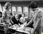 Sale 8721A - Lot 45 - Artist Unknown - First class meal service onboard the Qantas 747, 1982 20 x 25cm