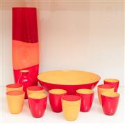 Sale 8855H - Lot 43 - A Venetian Mo Asperato coloured glassware set comprising glass, bowl and ten beakers in red and orange. Height of vase 47cm, Diamete...