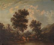 Sale 8929 - Lot 572 - Artist Unknown (C19th) - English Country Scene with Figure by the Creek and Castle Ruins 49.5 x 60 cm