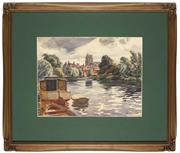 Sale 8945 - Lot 2046 - John Charles Goodchild (1898 - 1980) - River Waveney & St. Michael's Church, Suffolk, England 28 x 38 cm (frame: 55 x 62 x 3 cm)