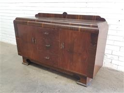 Sale 9112 - Lot 1052 - Art deco sideboard with three drawers & two doors below (h97 x w147 x d50cm)