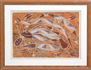 Sale 8288A - Lot 91 - Samson Badari - Yabbie, Barramundi, Water Python and Nailfish 60.5 x 40.5cm