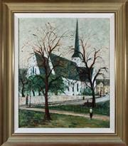Sale 8313A - Lot 24 - George Feather Lawrence - Church in Parramatta 61 x 51cm
