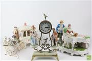 Sale 8524 - Lot 62 - Continental Ceramic Figural Clock, Horse and Carriage and Grand Piano Scene