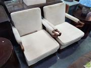 Sale 8601 - Lot 1443 - Pair of Parker Knoll Fabric Upholstered Timber Armchairs (75 x 67 x 70cm)
