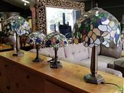 Sale 8601 - Lot 1190 - Two Pairs of Leadlight Table Lamps