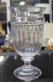Sale 8709 - Lot 1062 - A good quality urn form faceted crystal vase, H x 41cm